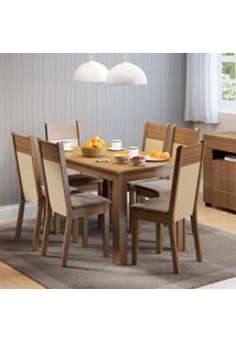 Conjunto Sala De Jantar Honduras Madesa Mesa Tampo De Madeira Com 6 Cadeiras Marrom - Tricae