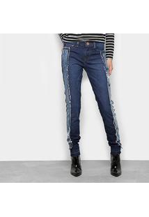 Calça Jeans Reta Carmim Upcycling Cintura Média Feminina - Feminino-Jeans