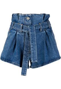 The Attico Short Jeans Cintura Alta Com Cinto - Azul