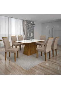 Conjunto De Mesa Com 6 Cadeiras Pampulha Ii Linho Canela E Bege
