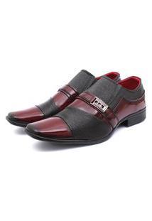 Sapato Social Leve Renovally Preto E Vinho