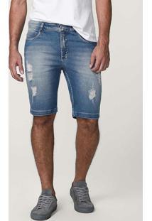 Bermuda Jeans Azul Tradicional Puídos Malwee