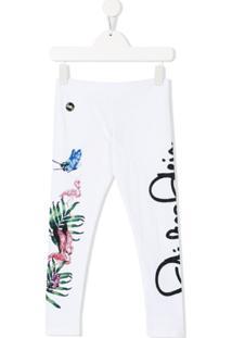 Philipp Plein Junior Logo Embellished Leggings - Branco