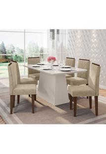 Conjunto De Mesa De Jantar Com Tampo De Vidro Bárbara E 6 Cadeiras Amanda Animalle Off White E Creme