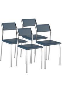 Cadeira Carraro 1709 Cromado,Azul Noturno 4 Cadeiras