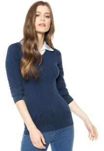 Blusa Aishty Textura Azul-Marinho/Branca