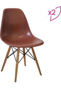 Jogo De Cadeiras Eames Dkr- Café & Madeira- 2Pçsor Design