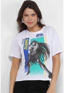 Camiseta Ellus 2Nd Floor Cavaleiros Do Zodíaco Shiryu Feminina - Feminino-Branco