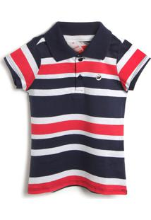 Camiseta Marisol Menina Listrada Azul-Marinho