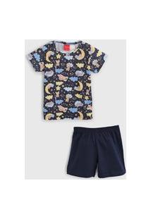 Pijama Tricae Curto Infantil Bicho Preguiça Azul-Marinho
