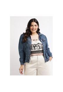 Jaqueta Jeans Feminina Plus Size Com Recortes E Bolsos Azul Escuro