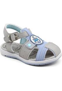 Sandália Bebê Kidy Masculina - Masculino-Cinza+Azul