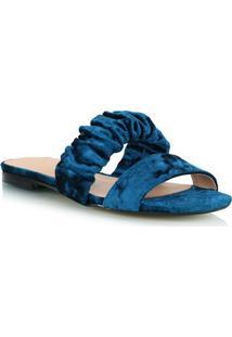 Rasteira Tiras Em Veludo Azul