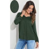980019375f Blusa Quintess Verde Musgo Soltinha Mangas 7 8