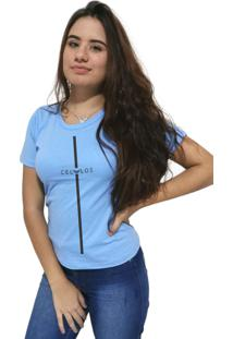 Camiseta Feminina Cellos Stripe Premium Azul Claro - Kanui