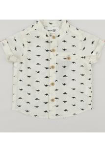 cf16f6bcb4066f Camisa Infantil Bento Estampada De Tubarão Gola Padre Manga Curta Off White