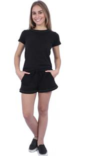 Short Hava Moletom Bordado Preto