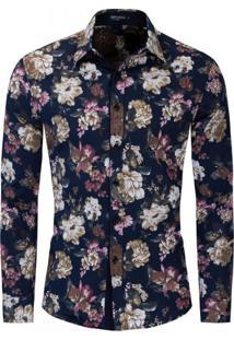 Camisa Floral Masculina - Azul Royal Xg