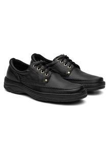 Sapato Social Masculino Ortopédico Cadarço Conforto Preto
