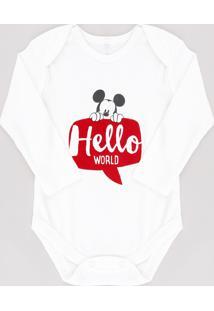 "Body Infantil Mickey Mouse ""Hello World"" Manga Longa Off White"