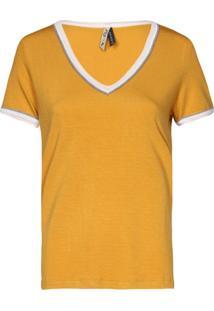 Camisetas Khelf Camiseta Feminina Decote V Vivo Amarelo - Tricae