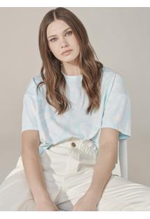 Camiseta Feminina Curta Tie Dye - Azul