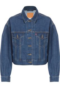 Jaqueta Feminina Trucker Pleat Sleeve - Azul