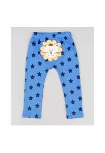 Calça Infantil Estampada De Estrelas Com Patch De Leão Azul