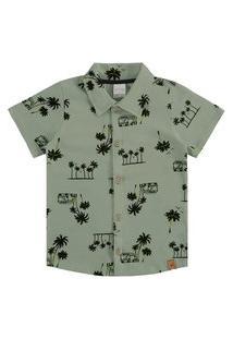 Camisa Infantil Menino Vacation Verde - Alakazoo