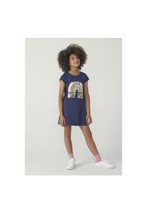 Vestido Hering Kids Infantil Modelagem T-Shirt Azul