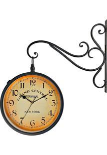 Relógio De Parede Decorativo Vintage Retrô Preto Estilo Estação Ferroviária Grand Central New York R3P Import