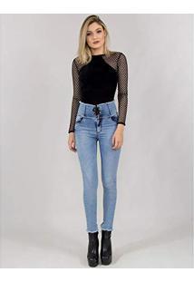 306b0302c6 Calça Jeans Com Corpete E Ilhós 36