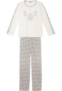 Pijama Plus Size Feminino Lua Cheia Longo Flanelado
