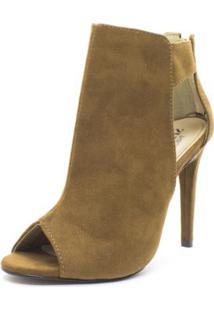 Ankle Boot Shoes Inbox Open Boots Cut Out Feminina - Feminino-Marrom
