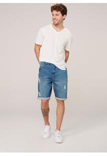 Bermuda Masculina Jeans Em Eco Denim Com Elastano - Azul