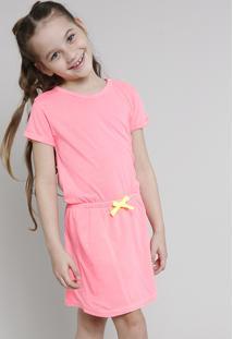 Vestido Infantil Com Laço Neon Manga Curta Rosa