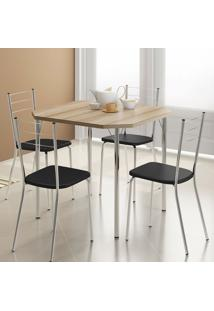 Conjunto Mesa 1510 Nogueira Com 4 Cadeiras 1703 Cromada/Preta Carraro