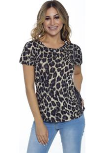 T-Shirt Cavallari Asas Costas Aplique Animal Print