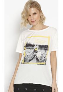 Camiseta Com Inscriã§Ãµes - Branca & Amarela- M. Officm. Officer