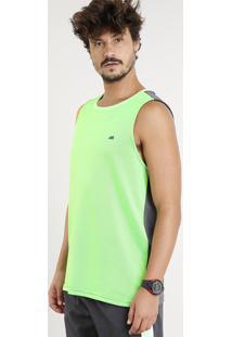 Regata Masculina Esportiva Ace Gola Careca Verde Neon