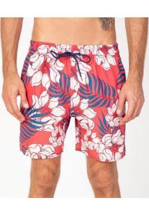 Bermuda Praia Estampado Vonpiper Masculino - Masculino-Vermelho+Branco