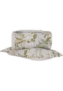 Conjunto De Colcha Panamá Floral Solteiro- Branco & Verdbuddemeyer