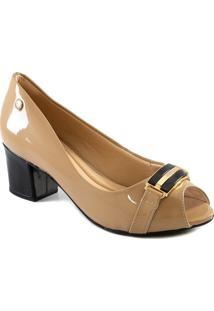 Peep Toe Salto Bloco Com Fivela Via Uno All Day 2020 455002