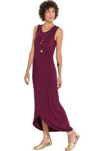 Vestido Quintess Bordô Com Transpasse Frontal