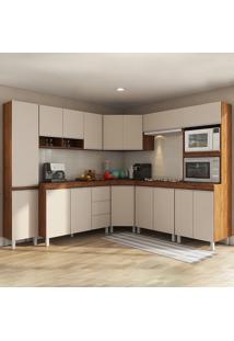 Cozinha Completa 16 Portas 3 Gavetas Viena Seda/Off White - Viero Móveis