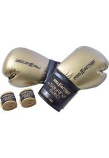 Kit De Luva De Box E Muay Thai + Bandagem Gold Proaction - Unissex