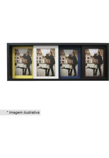 Painel Slide Para 4 Fotos- Preto & Amarelo- 19X50X6Ckapos
