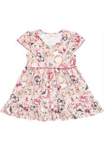 Vestido Infantil Estampado Rosa