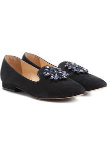 Mocassim Couro Shoestock Slipper Pedraria Feminino - Feminino-Marinho
