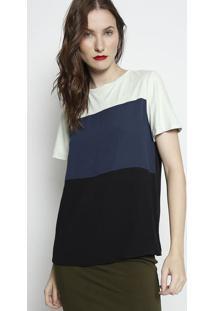 Camiseta Com Recorte Acamurã§Ado- Verde Claro & Azul Mariforum